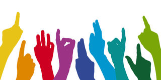 Many hands pointing high. Many colored hands pointing high Royalty Free Stock Photography