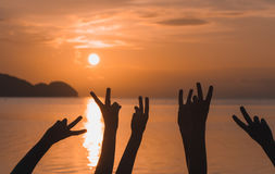 Many hands raised against sunset sky. At sunset Royalty Free Stock Images