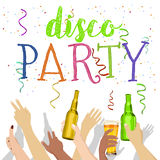 Many hands raised up with disco party text holding bottles Stock Photos