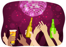 Many hands raised up holding bottles and mugs of beer at party with disco ball Stock Image