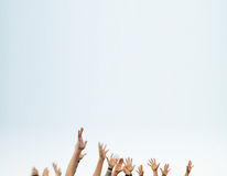 Many Hands Reach Stock Photography
