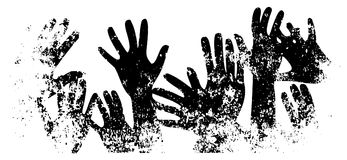 Many hands reaches up grunge template. Black silhouettes on white background isolated. Dangerously stretching hands. Old rough dis Royalty Free Stock Photo