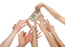 Many hands reaching out for money. Many hands wanting to take money (bonus, salary or other payment); many hands reaching out for dollar banknotes isolated on