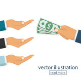 Many hands reaching out for money. Hand holding cash. Give salary. Employer and staff. Vector illustration flat design. Isolated on white background. Pull a