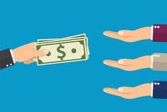 Many hands reaching out for money. Hand holding cash. Give salary. Employer and staff. Vector illustration in flat style