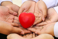 Many hands and a red heart Royalty Free Stock Photos