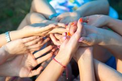 Many Hands Rising Stock Photography