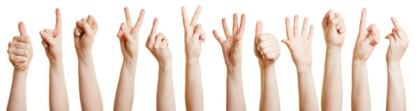Many hands showing different gestures Royalty Free Stock Image