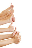 Many hands showing thumbs up sideways Stock Photography