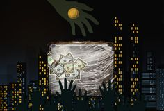 Many hands taking euro and dollar money. In a dark city background stock images