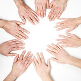 Many hands together. On white background royalty free stock photography