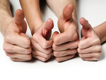 Many hands together. On white background royalty free stock images