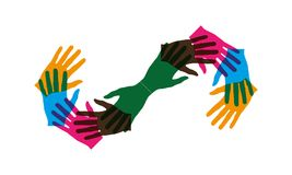 Many hands together group and making infinity shape royalty free illustration