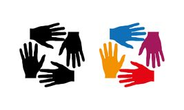 Many hands together group of people joining hands. Many hands together: group of people joining hands. Multiracial Hands Making a Circle. Conceptual symbol of Stock Photography