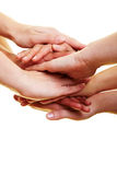 Many hands on top. Many hands lying on top of each other royalty free stock photography
