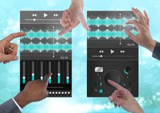 Many Hands Touching Collaborating Sound Music and Audio production engineering equalizer App Interfa. Digital composite of Many Hands Touching Collaborating stock images