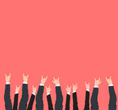 Many hands up cool rock victory and success gestures of different business man and woman hands . Stock Image