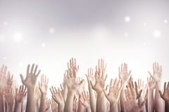 Many Hands Up. Many people's hands up Stock Images