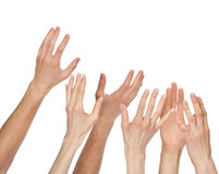 Many hands wanting/asking for something, copyspace Stock Photos