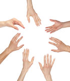 Many hands wanting/asking for something, copyspace. Many hands asking for something reaching out to the center of image - copyspace, you can add your text or royalty free stock photo