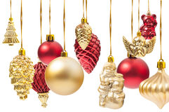Many hanging Christmas globes or various decorations. Isolated on white background Stock Photo