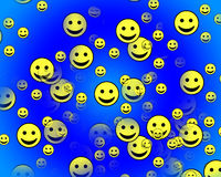 Many Happy Faces 3. A multitude of happy faces with varying degrees of transparency and scale Stock Photos