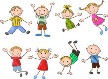 Many happy kid cartoon jumping and dancing together Royalty Free Stock Photography