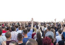 Many happy people with raised hands. At a concert or show stock images