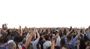 Many happy people with raised hands. At a concert or show stock image