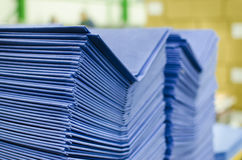 Many hard book covers stacked in a pile. In offset pring production plant Royalty Free Stock Image