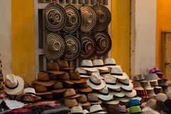 Many hats in a street shop. In Cartagena, Colombia Stock Image