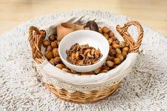Many hazel nuts basket Royalty Free Stock Image