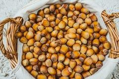 Many hazel nuts in wicker basket Stock Photography