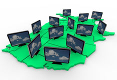 Many HDTV Televisions on USA Map. The rapid adoption of HDTV televisions represented by many TVs on a map of the United States Stock Photography