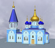 Many-headed Church. The Orthodox Church with five domes Royalty Free Stock Photo