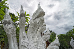 Many headed Naga statue closeup - decoration at every Buddhist t. Emple in Thailand Stock Photos