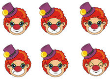 Many heads of clowns. Six faces of clowns with different emotions Royalty Free Stock Photo