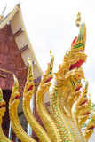 Many heads of dragon. Many heads of southeast asia gold dragon in buddhism with temple scene Stock Image