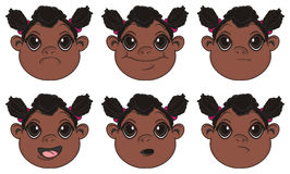 Many heads of negro girls Stock Images