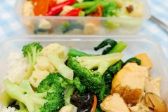Many healthy vegetables for packed meal. Packed Chinese set lunch or dinner with variety of colorful vegetables such as broccoli and cauliflower. Suitable for Stock Image