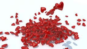 Many heart fall on white background. Many red heart fall on white background, 3d animation stock video footage