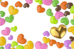 Many heart with a golden heart, on a white background.3D illustr Stock Image