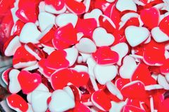 Many Heart shaped jelly candy sweets Royalty Free Stock Photos