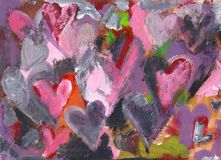 Many hearts abstract acrylic painting. Abstract acrylic painting of many hearts in pink, red, grey on a grunge background Stock Image