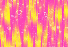 Many hearts background with rays Stock Image