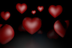 Many of hearts on a black Stock Images