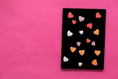 many hearts in Blackboard on pink background, Love icon, valentine`s day, relationships concept stock photo