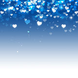 Many Hearts on Blue Background. Delightful valentine magic falling hearts on blue background stock illustration