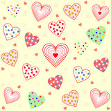Many hearts filled with different pattern Royalty Free Stock Photos