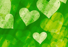 Many hearts on green backgrounds of Love symbol Royalty Free Stock Photos